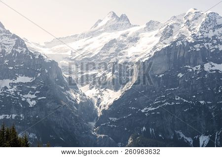 Three Peaks Of Mountain Alps Looking From Grindelwald First Peak Electric Cable Car , Switzerland Eu