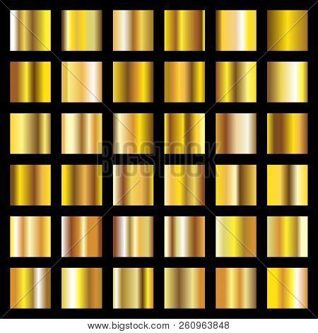 Golden Gradients. Gold Metal Coin Textures Vector Backgrounds. Metallic Element, Shine Gold Metal Gr
