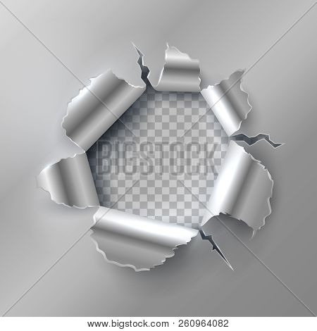 Bullet Hole In Metal. Opening With Ripped Steel Edges. Vector Illustration Isolated On Transparent B