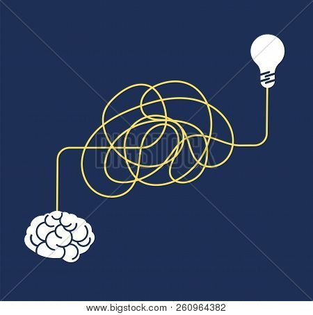Messy Complicated Way. Confused Process, Chaos Line Symbol. Tangled Scribble Idea, Insane Brain Vect