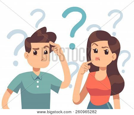 Young Troubled Couple. Confused Woman And Man Thinking Together. People With Question Marks Vector I