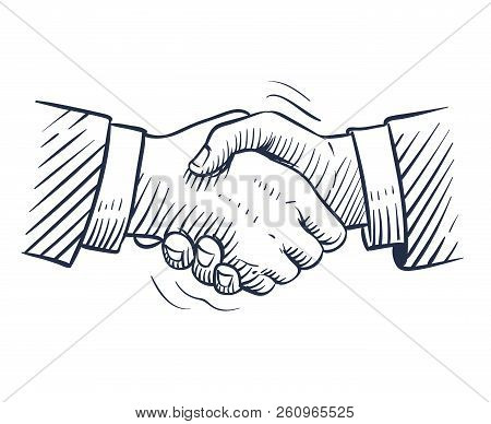 Sketch Handshake. Doodle Handshaking With Human Hands Isolated. Professional Deal, Business People C