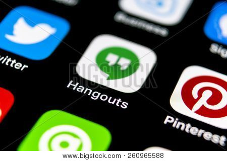 Sankt-petersburg, Russia, September 30, 2018: Google Hangouts Application Icon On Apple Iphone X Sma
