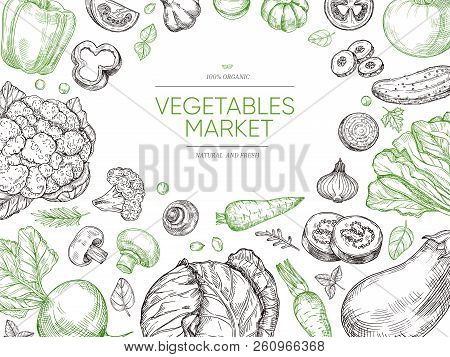 Vegetables Hand Drawn Background. Organic Food Vegetable Set. Sketch Vegan Vector Menu Design. Illus