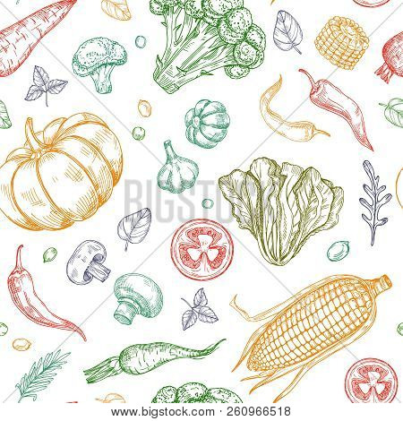 Sketch Vegetables Seamless Pattern. Vegetable Soup Organic Farm Food Vector Vegetal Background. Illu