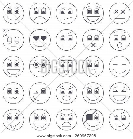 Collection Of Emoticon Icons. Abstract Emoji Illustration. Smile Icons Vector Illustration Isolated