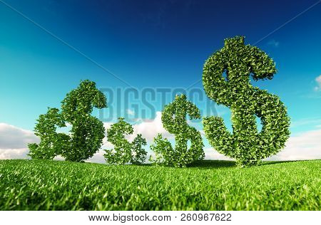 Eco Friendly Business, Green Profit, Growing Money And  Sustainable Economy Concept. 3d Rendering Of