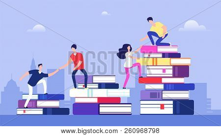 People Climbing Books. Business Success, Education Level And Staff And Skill Development Vector Conc