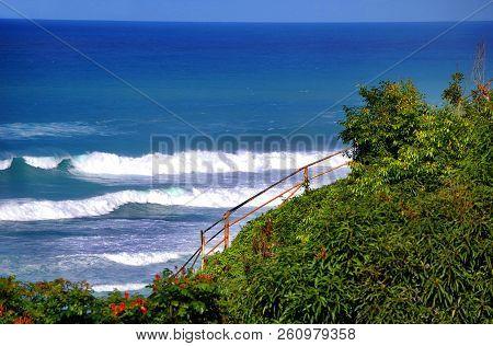 Beautiful Kilauea Point On The Island Of Kauai, Hawaii, Has Bluffs Sinking Down Into The Turquoise B