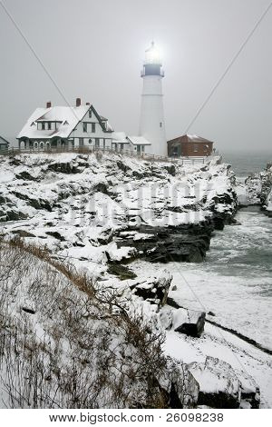 Winter view of the Portland Head Light in Maine.