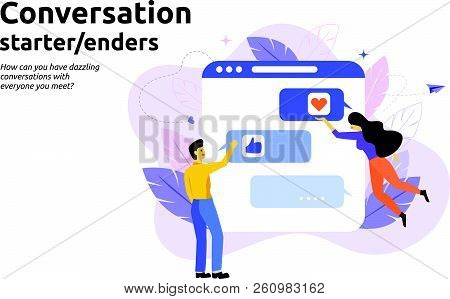 Conversation Start And Enders Concept. Man And Woman Text Message Conversation. Modern Flat Vector I