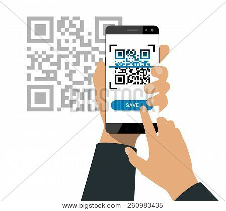 Hand Holds A Smartphone And Push A Button For Scanning Qr Code Isolated On White Background. Vector