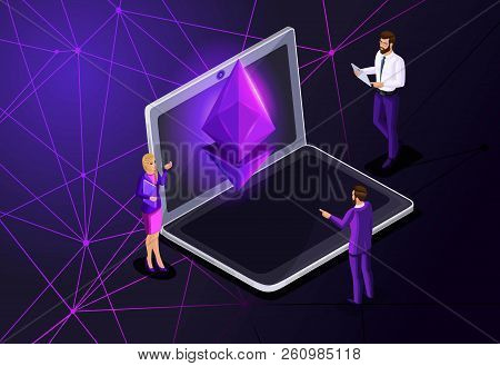 Isometric Ethereum Crisis Concept With Ether Symbol, Crypto Currency, Space, New Virtual Money, Busi