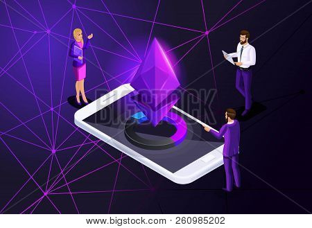 Isometric Ethereum Crisis Concept With Ether Symbol, Crypto Currency, New Virtual Money, Business La