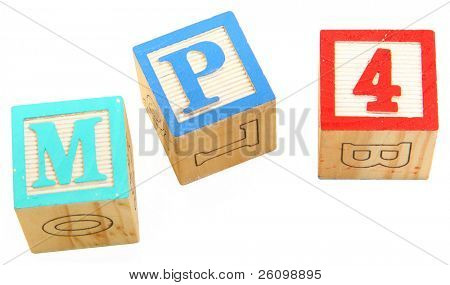 mp4 spelt with colorful alphabet blocks over white