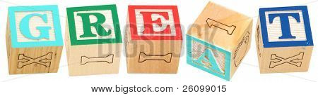 Colorful alphabet blocks spelling the word GREAT