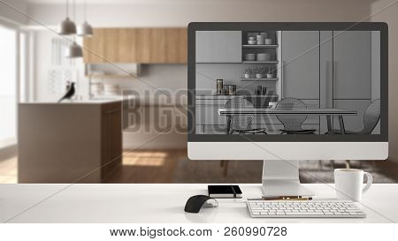 Architect house project concept, desktop computer on white work desk showing unfinished CAD sketch or drawing, real finished minimalist white and wooden kitchen interior design in the background, 3d illustration poster