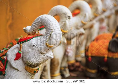 Elephant Dolls Or Statues As Offering Or Oblation To Appease Or Worship Shrine Gods Or Household Spi