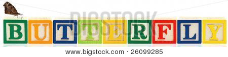 Colorful alphabet blocks. BUTTERFLY poster
