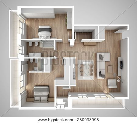 Apartment Flat Top View, Furniture And Decors, Plan, Cross Section Interior Design, Architect Design