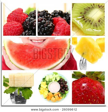 Collage of watermelon, strawberry, blackberry, raspberry, banana, mint, kiwi, pineapple, cantelope, grapes and boys smile.