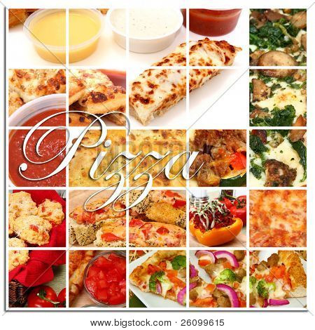 Various pizza and pizza ingredient foods together in a collage.  Pizza, pizza sticks, pizza rolls, toppings, dip, pizza break, pizza boats.