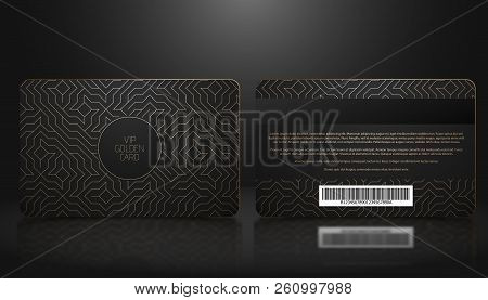 Vector Template Of Membership Or Loyalty Black Vip Card With Luxury Golden Geometric Pattern. Front
