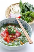 Pho bo , Vietnamese  food , Beef noodle soup with sliced rare beef poster