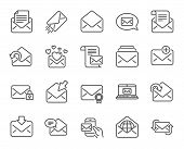 Mail messages line icons. Set of Newsletter, E-mail, Correspondence linear icons. Received mail, Secure message and Web letter symbols. Post office, Send email and Private communication signs. Vector poster