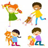 Children playing with toys of the opposite gender. Concept of gender stereotypes. poster