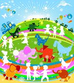 kids cars and animals; children in peaceful nature poster