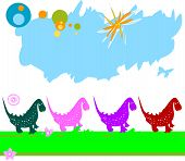 dinosaurs caravan; chain of dinosaurs in a field poster