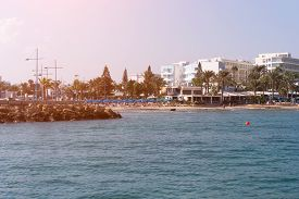 Coastline. Hotels And Cafe On The Beach. Cyprus