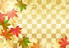 Japanese Autumn On Gold Background. Vector Illustration.