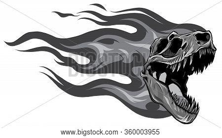 Monochromatic Dinosaur Skull. Drawing Of T-rex Skull Vector