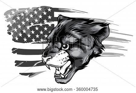 Monochromatic Angry Puma Head. Vector Illustration Design Art