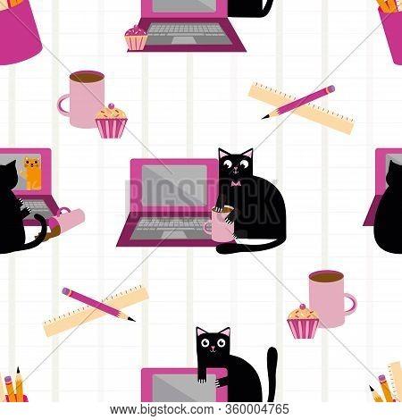 Cute Cartoon Cat And Laptop Vector Seamless Pattern Background. Black Feline Interrupting Business W