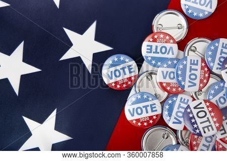 Republican Party November 2020, America, United States Of America Election Pin Buttons On Flag