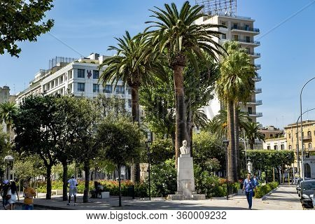 Italy, Bari, August, 2017 - City View Of The Main Street Of Bari With High-rise Buildings And Beauti