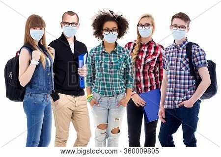 Pandemic, Health Care And Education Concept - Large Set Of Teenagers Or Students In Protective Masks