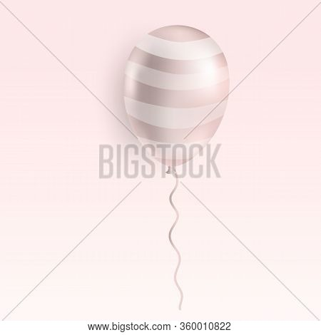 Realistic Flying Rose Gold Helium Balloon. Birthday Party Ballon Isolated On Soft Pink Background. P