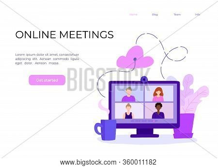 Desktop Computer With Group Of Colleagues Taking Part In Video Conference. Software For Videoconfere