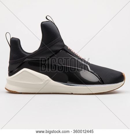 Vienna, Austria - August 14, 2017: Puma Fierce Vr Black And White Sneaker On White Background.