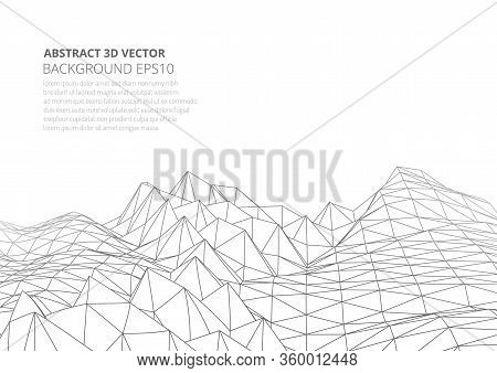 Abstract Background In The Style Of Low Poly Design. 3d Landscape In Virtual Reality.