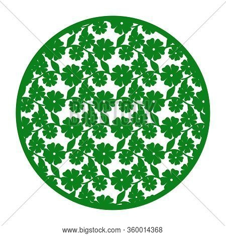 Vector Round Decorative Panel With Flowers And Leaves. Design Element, Sample Panel For Plotter Cutt