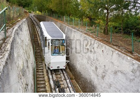 Karlovy Vary, Czech Republic - October 01, 2018: The Diana Funicular In Karlovy Vary On The Tour Fro
