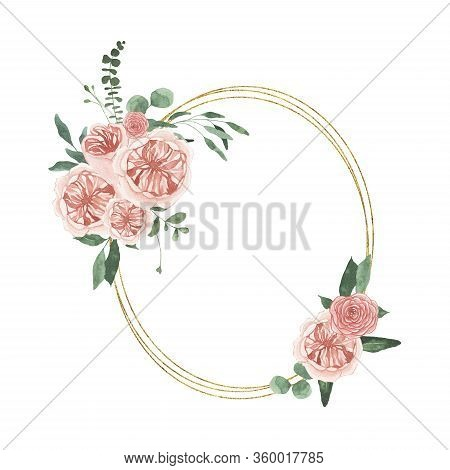 Watercolor Summer Floral Fields Golden Oval Wreath With Rose Flowers Greenery Leaves Foliage Isolate