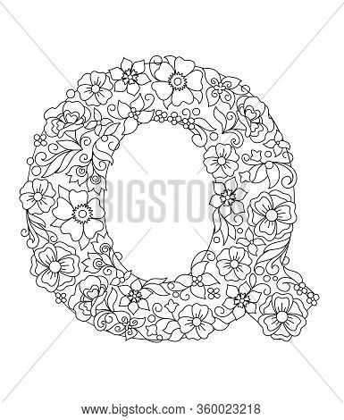 Capital Letter Q Patterned With Hand Drawn Doodle Abstract Flowers And Leaves. Monochrome Page Anti