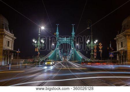 Budapest, Hungary - November 10, 2018: The Liberty Bridge In Budapest At Night