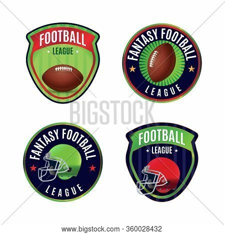 A Set Of Four American Fantasy Football League Badges And Emblems. Vector Eps 10 Available.